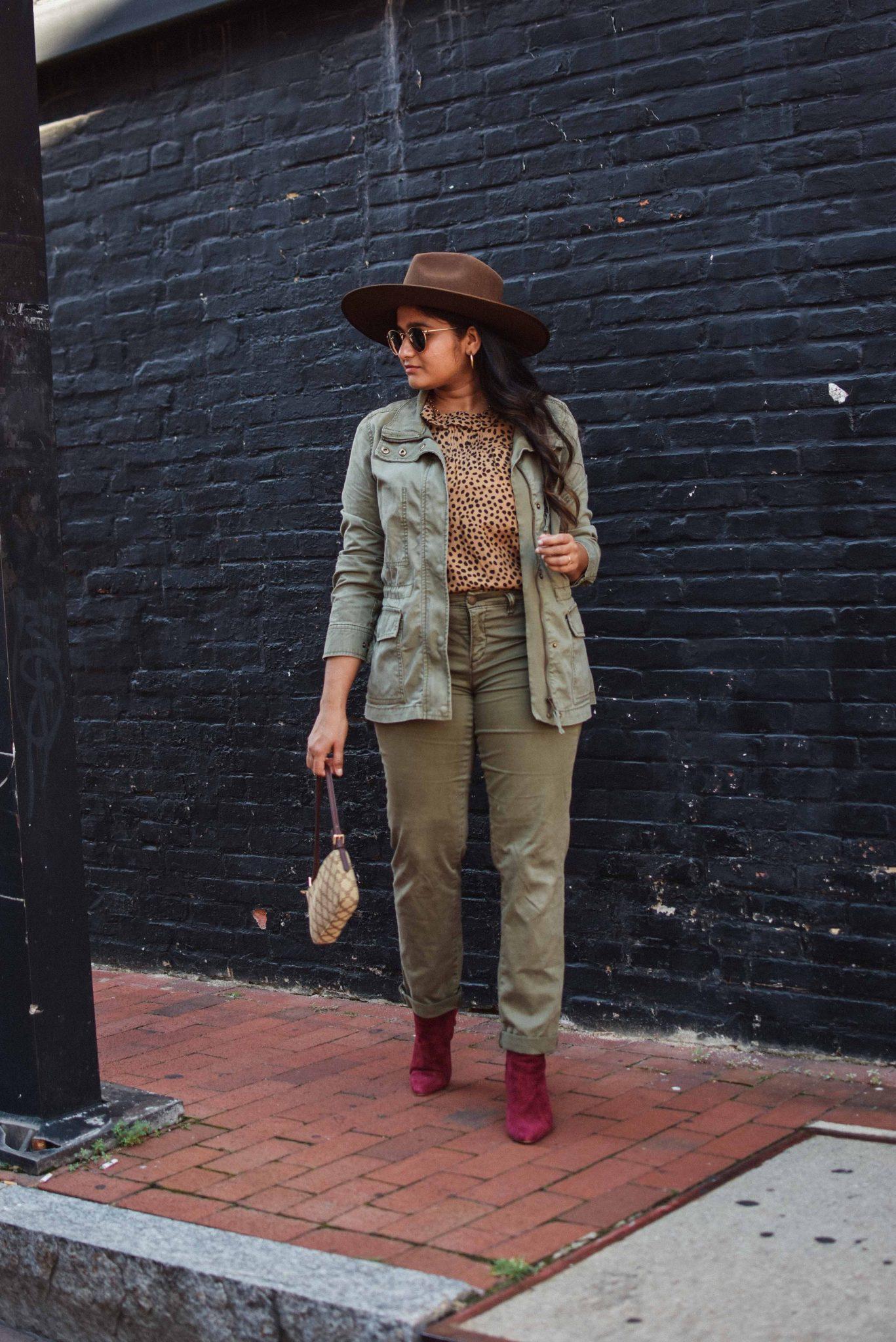 Wearing Caslon Crop Utility Pants, J.crew leopard print blouse,Madewell Passage Jacket, burgundy boots, lack of color hat