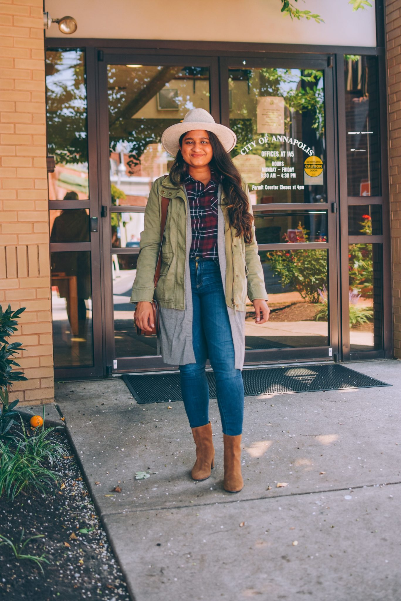 Wearing halogen Caridgan, madewell utility passage jacket, Ag Ankle Legging Jeans, j.crew willa suede boots, Lack of color grey hat | Utility Jackets by popular Maryland modest fashion blog, Dreaming Loud: image of a woman wearing a halogen Caridgan, madewell utility passage jacket, Ag Ankle Legging Jeans, j.crew willa suede boots, and a Lack of color grey hat.