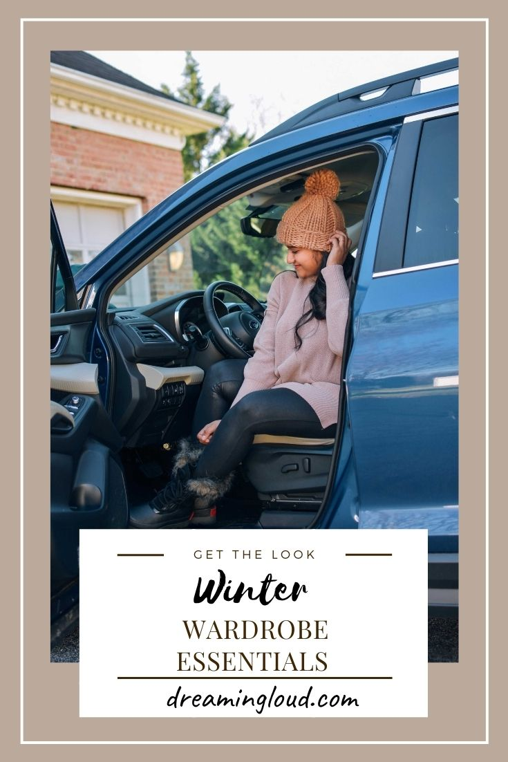 10 Winter Essentials For a Cozy Look featured by top Maryland modest fashion blogger, Dreaming Loud | Winter Clothing by popular Maryland modest fashion blog, Dreaming Loud: Pinterest image of a woman sitting in her car and wearing a tunic sweater, black leggings, black pom beanie, and fur trim boots.