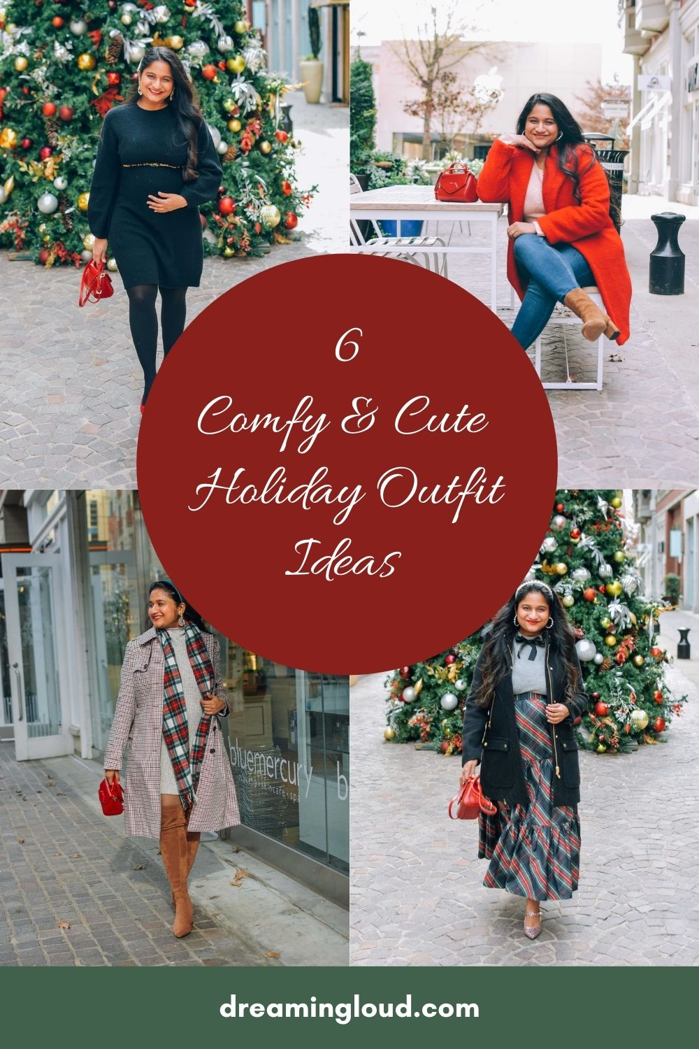 6 Comfy and Cute Holiday Outfit Ideas | Cute Holiday Outfit Ideas by popular Maryland modest fashion blog, Dreaming Loud: Pinterest image of a woman wearing cute holiday outfits.