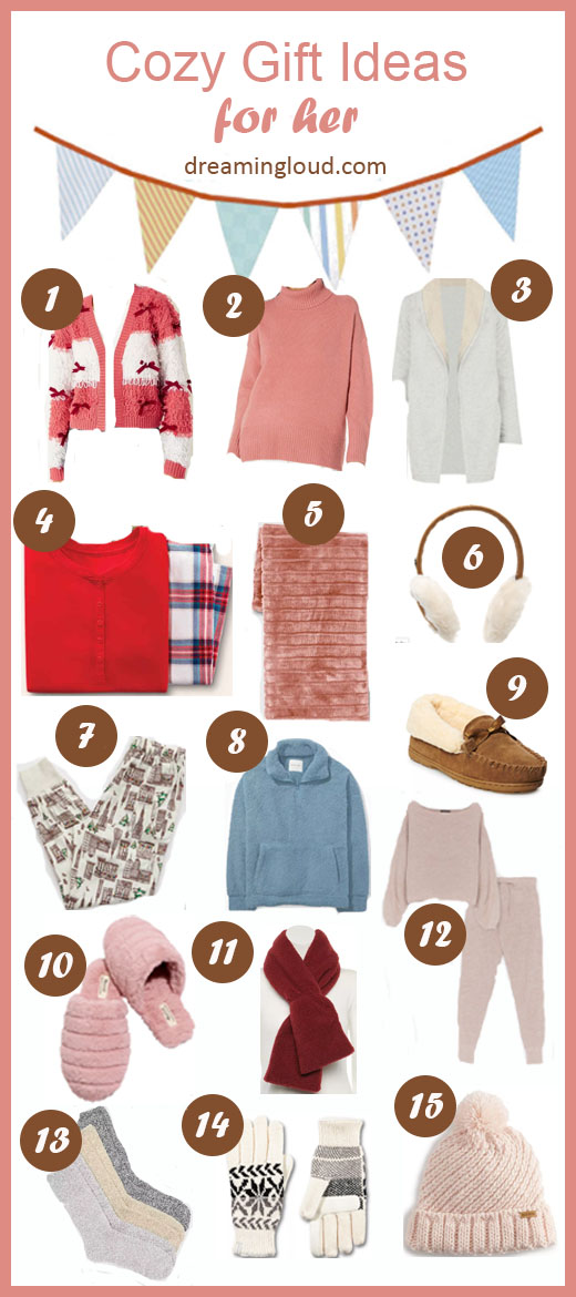 Holiday Shopping 2020: 15 Cozy Gift Ideas for her Under $40 featured by top Maryland fashion blogger, Dreaming Loud: collage image of pajama set, slippers, socks, mittens, beanies, slippers, scarf, ear muffs, and sweaters.