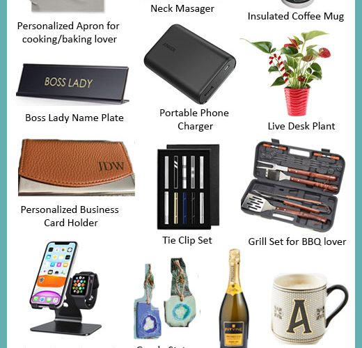 Holiday Gift Guide 2020: 16 Gift Ideas for your Boss featured by popular Maryland lifestyle blogger, Dreaming Loud: collage image of Shiatsu back and neck massager, personalized apron, Yeti insulated coffee mug, boss lady name plate, portable phone charger, live desk plant, personalized business card holder, tie clip set, grill set for bbq lover, iphone and watch stand, goode slate ornament, bottle of wine, monogram coffee mug, food gift basket, personalized airpod case, and reusable notebook.