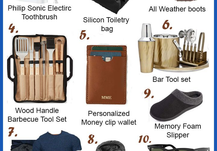 Holiday Shopping 2020: 11 Practical Gift Ideas for Men He'll Love featured by top MD lifestyle blogger, Dreaming Loud: collage image of a Phillip Sonic Electric toothbrush, Silicon toiletry bag, all weather boots, wood handle barbecue tool set, personalized money clip wallet, bar tool set, softest jogger pants and tee, packable puffer jacket, memory foam slipper, Ray-Ban sunglasses, and tech gloves.