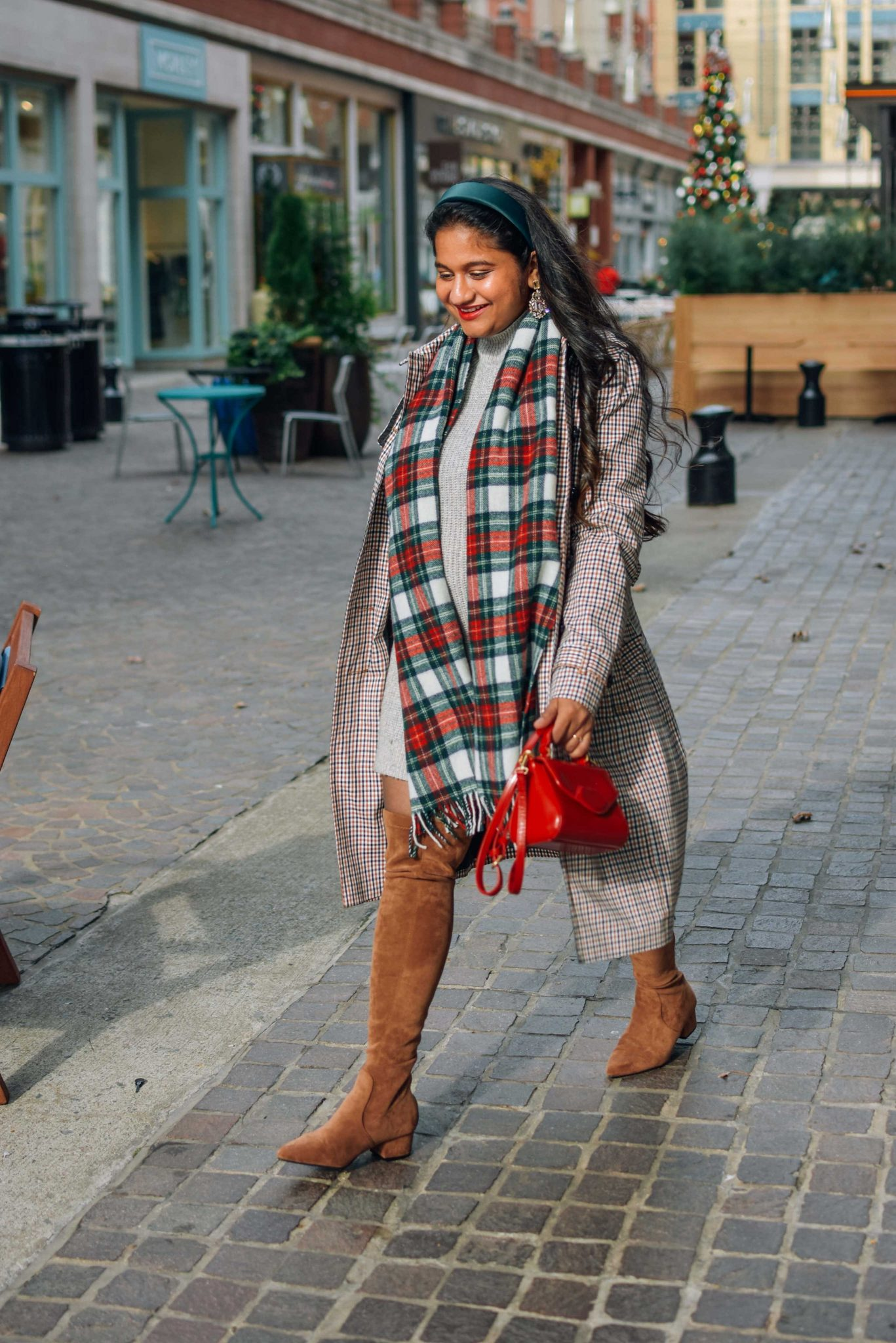 10 Winter Essentials For a Cozy Look featured by top Maryland modest fashion blogger, Dreaming Loud: image of a woman wearing Talbots POLISHED PLAID TRENCH COAT, American eagle sweater dress, Amazon N.N.G Over Knee Long Boots, J.crew Tartan scarf