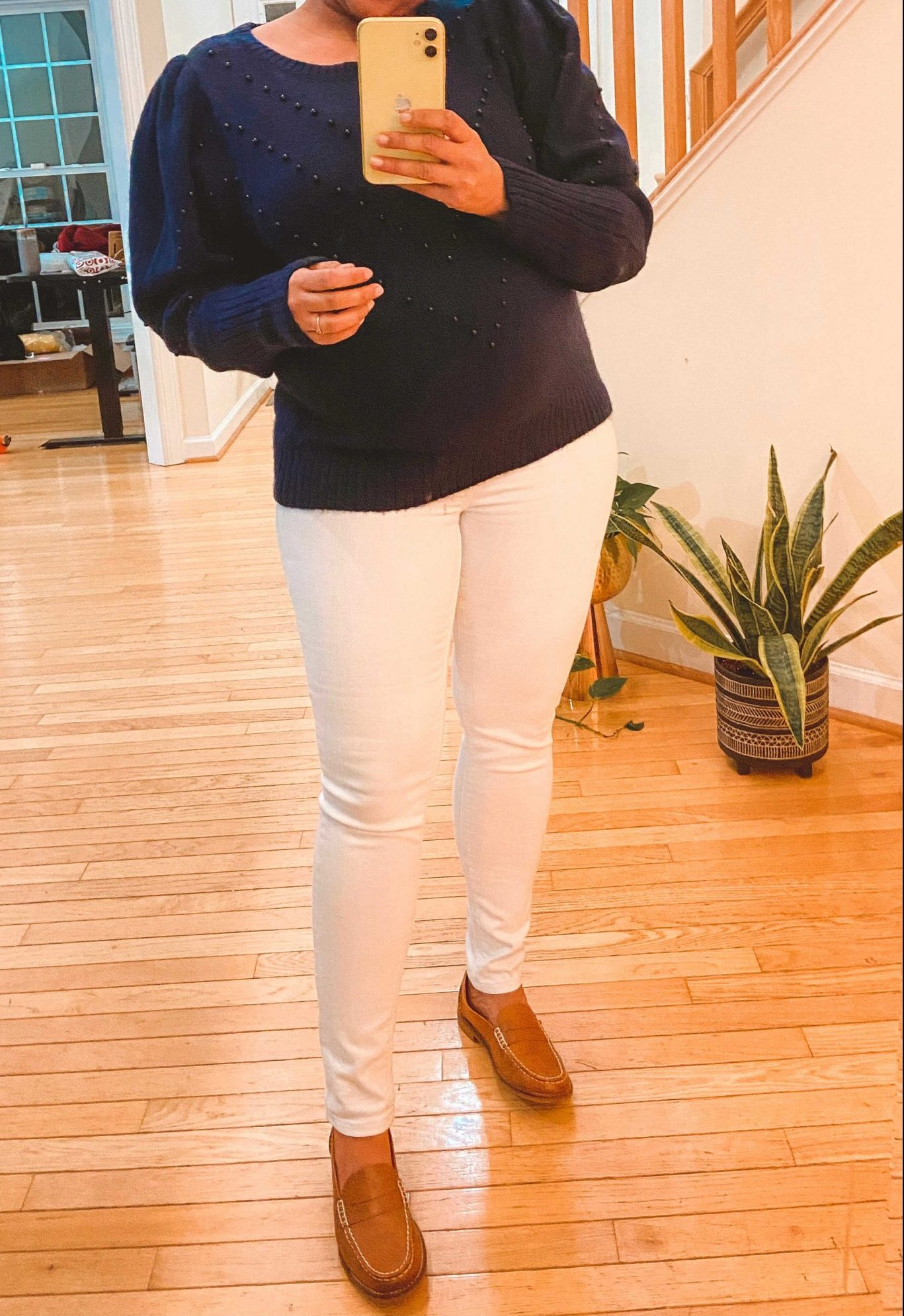 White Maternity Jeans by top Maryland modest fashion blogger, Dreaming Loud: image of a pregnant woman wearing an express Chevron Beaded Blouson Sleeve Sweater, Mango Maternity white High waist jeans, and Sperry Seaport Penny Loafer