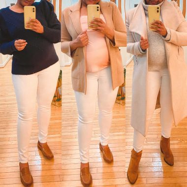 How to Style White Maternity Jeans from Mango: 3 Outfit Ideas featured by top Maryland fashion blogger, Dreaming Loud