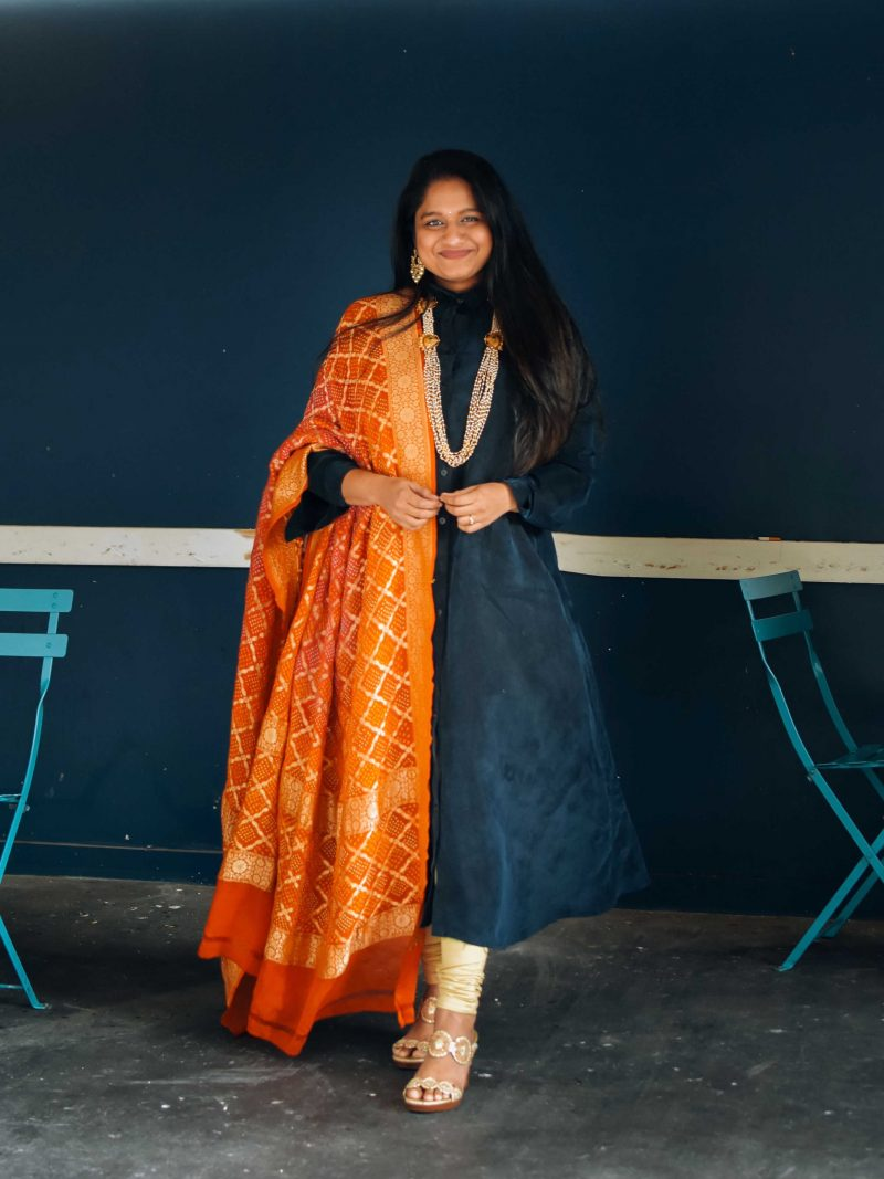 Sankranti Outfit- Wearing The Frock NYC dress, bandhani dupatta,Jack Roger Lauren Wedge Sandals, Pearl necklace- Indo western outfit ideas