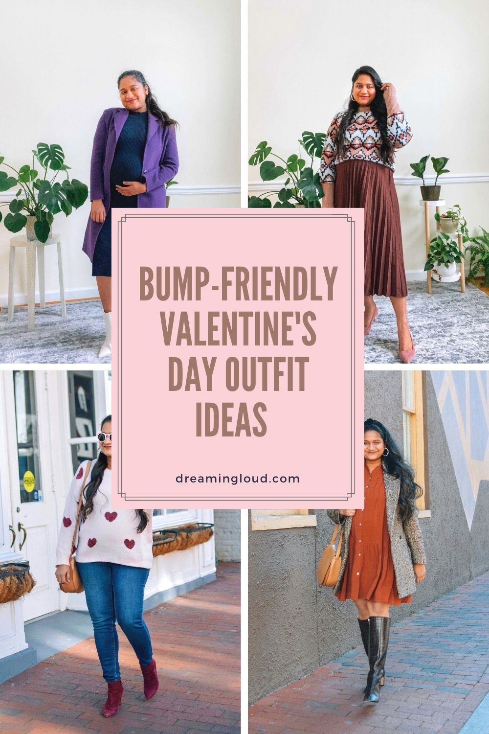 Maternity Style- 5 Cute Valentines day Outfit Ideas | Valentine's Day Maternity Outfit by popular Maryland modest fashion blog, Dreaming Loud: Pinterest image of maternity outfit ideas.