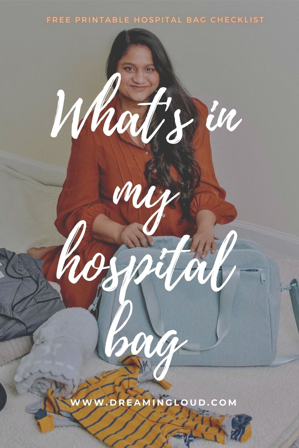 What's In My Hospital Bag (+ free printable Hospital bag checklist!)1 | Hospital Bag by popular Maryland motherhood blog, Dreaming Loud: Pinterest image of a woman sitting next to her blue hospital bag.