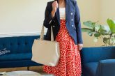 Amazon red printed midi skirt, Express satin Camisole, Express Supersoft Twill Double Breasted Novelty Button Blazer, Dagne Dover Allyn Leather Tote