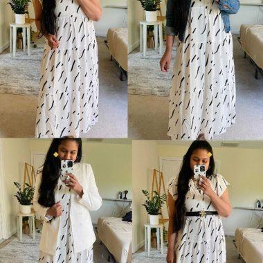 Postpartum Style-4 Ways to Style a Loft Brushstroke Swing Dress