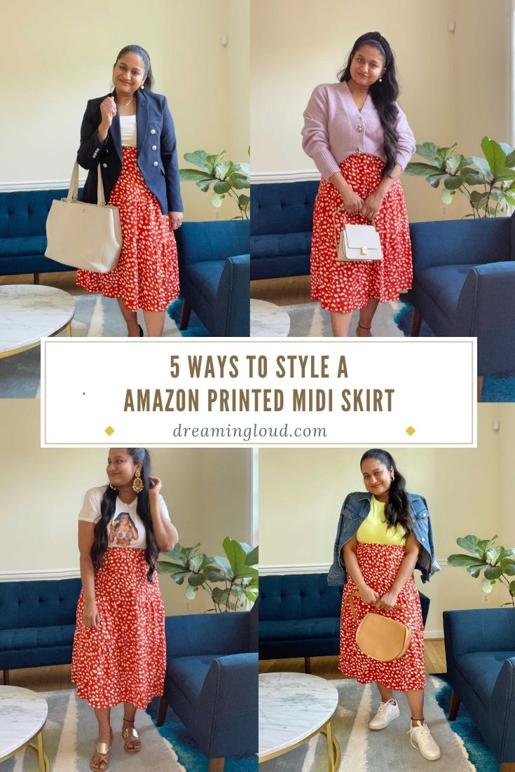 Post partum Style- 5 Ways to style a Amazon Printed Midi skirt | Amazon Printed Midi Skirt by popular Maryland modest fashion blog, Dreaming Loud: Pinterest image of a woman wearing a red and white floral print Amazon midi skirt, pink sweater, blue blazer, yellow tank, denim jacket, white graphic t-shirt, white sneakers, and gold slide sandals.