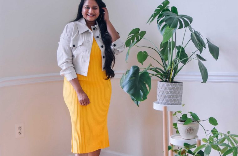 wearing MM LAFEUR The Dylan Dress—Slinky Knit dress in yellow,The Anna Jacket—Subbed Stretch Linen jacket1