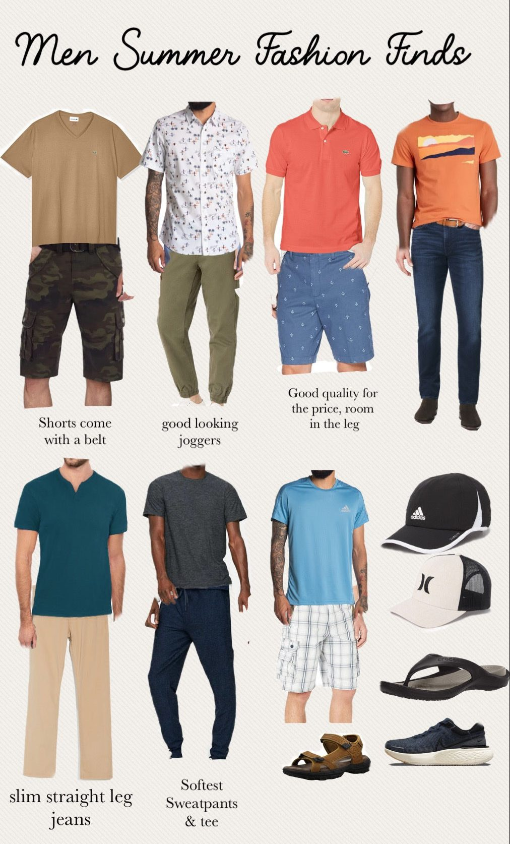 Affordable Men Summer Fashion Must Haves | Summer Fashion Trends by popular Maryland modest fashion blog, Dreaming Loud: collage image of mens t-shirts, CAMO shorts, green joggers, black and white button up shirt, chambray shorts, coral pink polo, orange shirt, half button blue shirt, tan cargo pants, grey t-shirt, jeans, light blue Adidas t-shirt, black and white plaid shorts, Adidas hat, Under Armor hat, black flip flops, blue sneakers, brown hiking sandals.