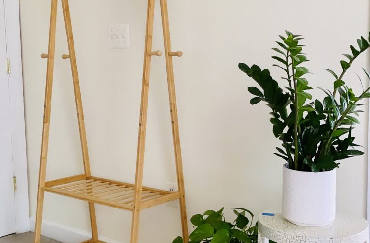 Bamboo Rolling Clothing Rack