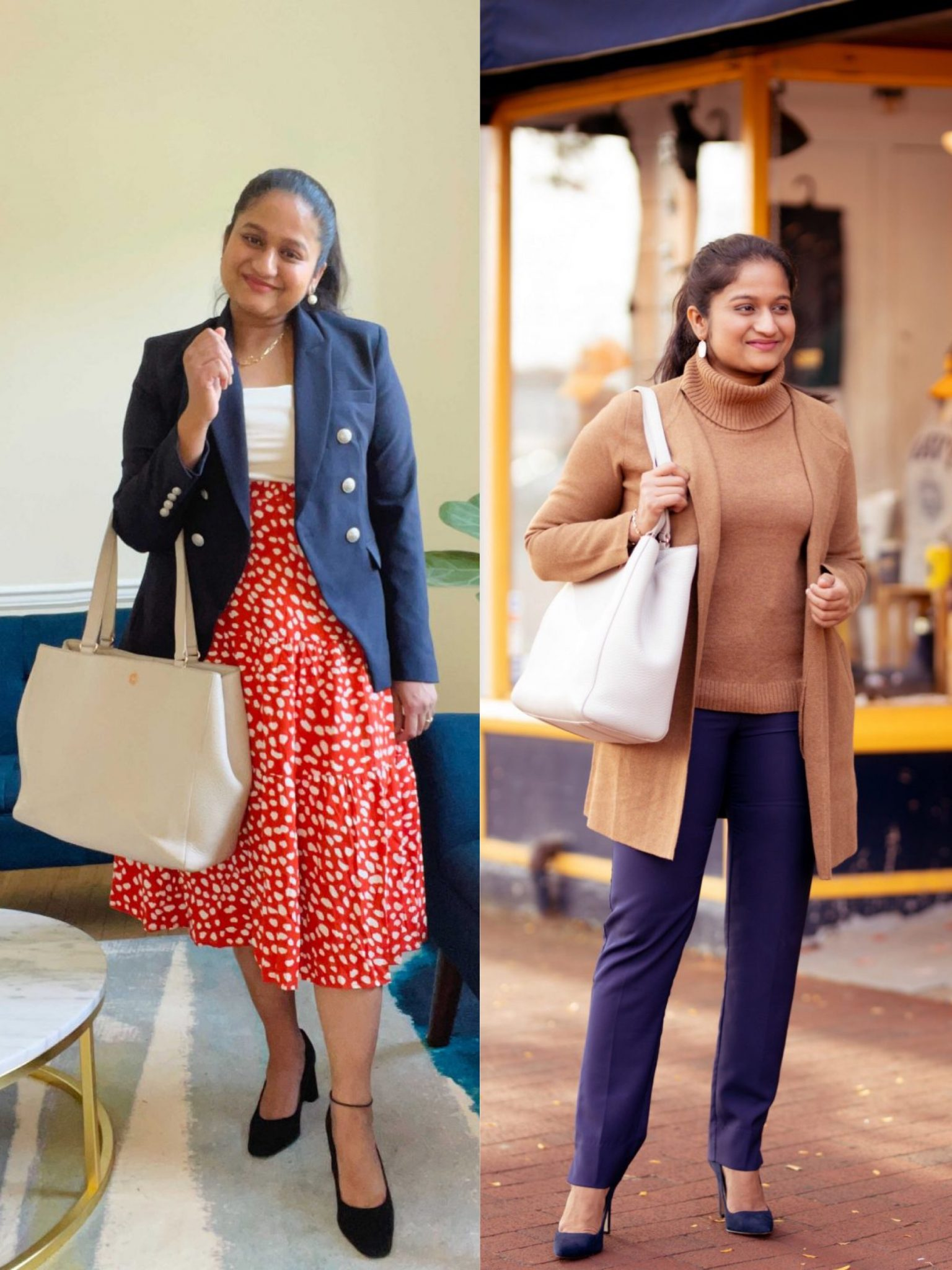 Dagne Dover Allyn Tote medium in bone review |  Handbags Under $500 by popular Maryland modest fashion blog, Dreaming Loud: collage image of a woman with a Dagne Dover Allyn tote.