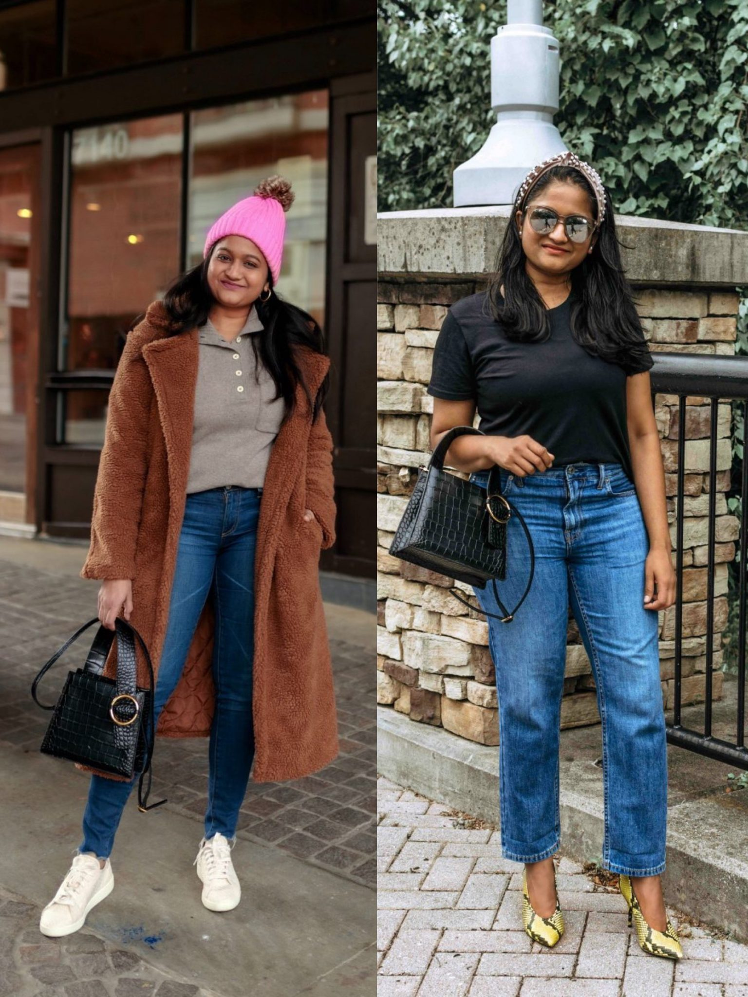 How to Style Parisa Wang Enchanted Top Handle Bag review.1 |  Handbags Under $500 by popular Maryland modest fashion blog, Dreaming Loud: collage image of a woman holding a Parisa Wang Enchanted handle bag.