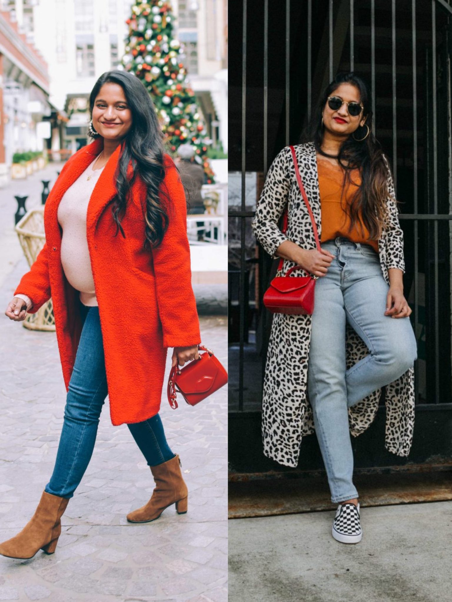 How to style small red cross body bag |  Handbags Under $500 by popular Maryland modest fashion blog, Dreaming Loud: collage image of a woman holding a Lulu Guinness Mini Izzy red crossbody bag.