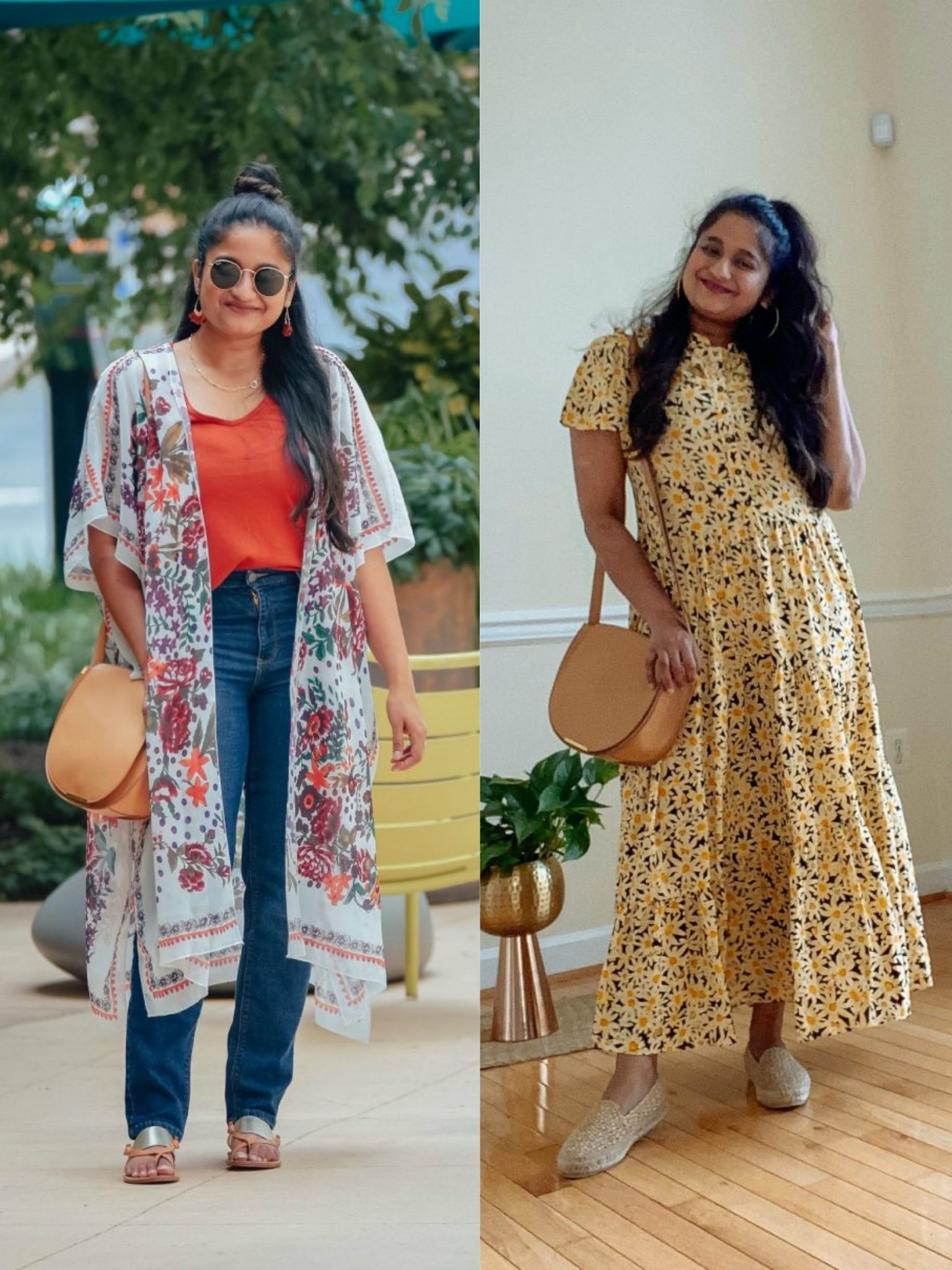 How to wear Cuyana Half Moon Shoulder Bag Review | Handbags Under $500 by popular Maryland modest fashion blog, Dreaming Loud: collage image of a woman wearing a white floral print kimono, red shirts, jeans, silver and brown strap sandals, yellow floral print dress, silver loafers, and a Cuyanna half moon crossbody bag.