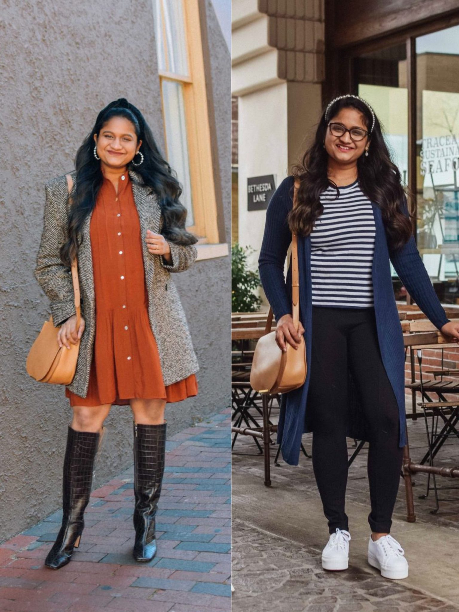 How to wear Cuyana Half Moon Shoulder Bag | Handbags Under $500 by popular Maryland modest fashion blog, Dreaming Loud: collage image of a woman wearing a orange button front dress, back tweed jacket, black knee high boots, blue and white strip skirt, blue cardigan, black stretch pants, white sneaker, and a Cuyanna half moon crossbody bag.