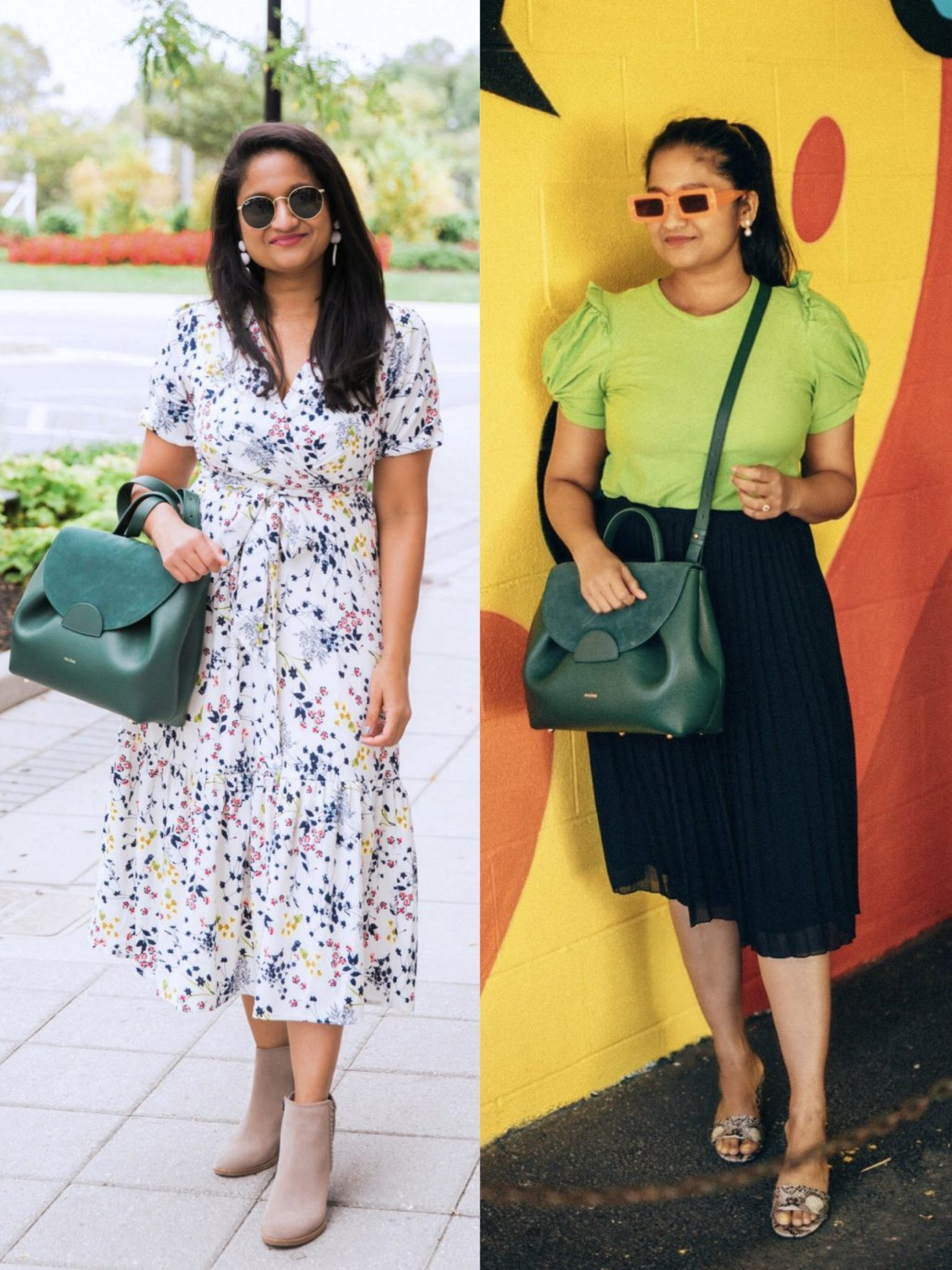 How to wear Polene Numero un bag in Trio green |  Handbags Under $500 by popular Maryland modest fashion blog, Dreaming Loud: collage image of a woman holding a Polene Numero Un in Trio green.