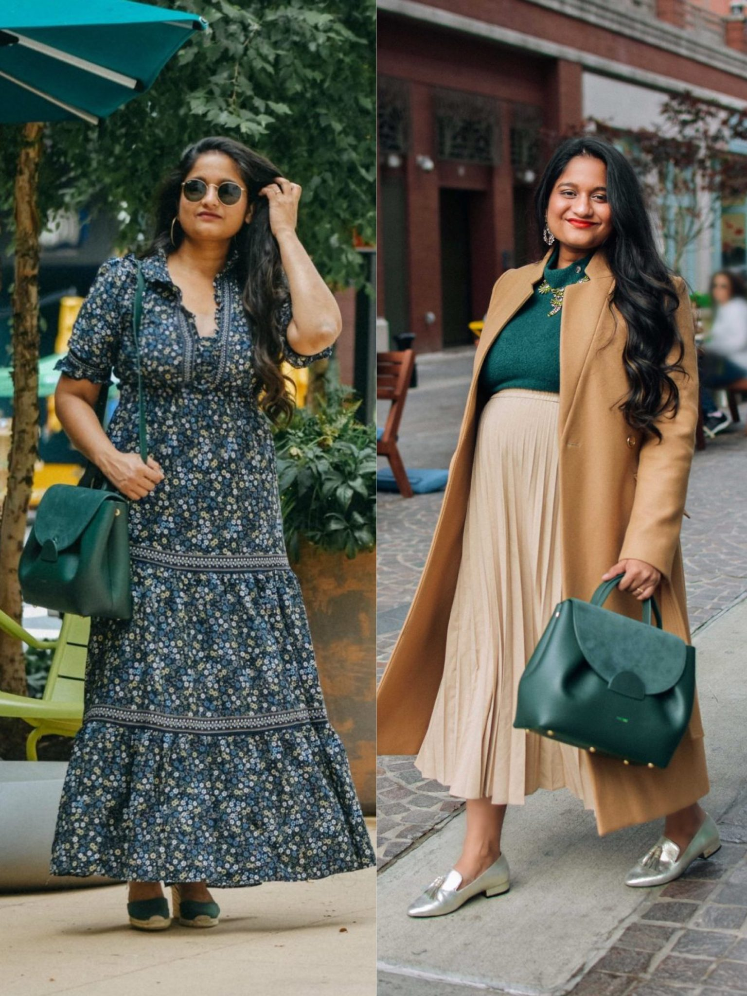 Polene Numero un Bag review and outfit ideas |   Handbags Under $500 by popular Maryland modest fashion blog, Dreaming Loud: collage image of a woman holding a Polene Numero Un in Trio green.