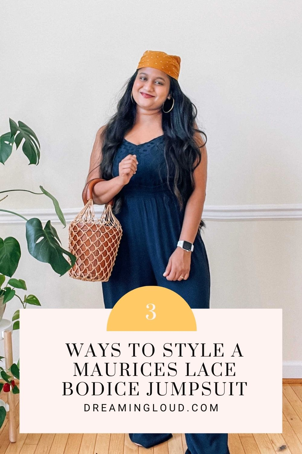 Postpartum outfits-3 Ways to Style a Maurices Lace Bodice Paperbag Waist Jumpsuit by top modest fashion blog dreaming loud