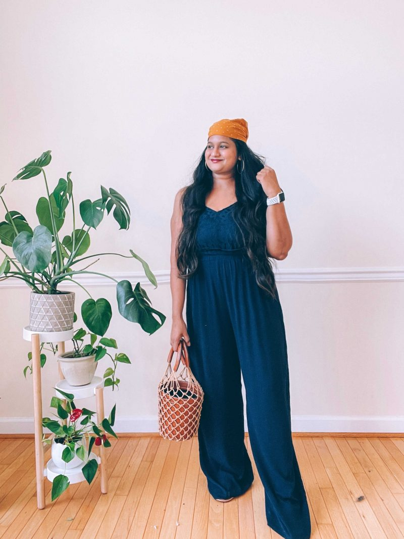 Wearing Maurices Blue Lace Bodice Jumpsuit, STAUD Moreau Leather Bucket Bag, Madewell Bandana by top US modest fashion blog dreaming loud