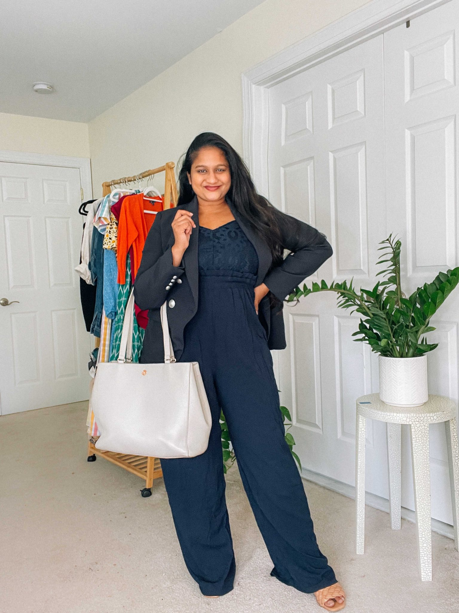 Office style- Wearing Maurices Blue Lace Bodice Jumpsuit,Express Twill Double Breasted Novelty Button Blazer, Dagne Dover Allyn Tote by Top US modest fashion blog dreaming loud