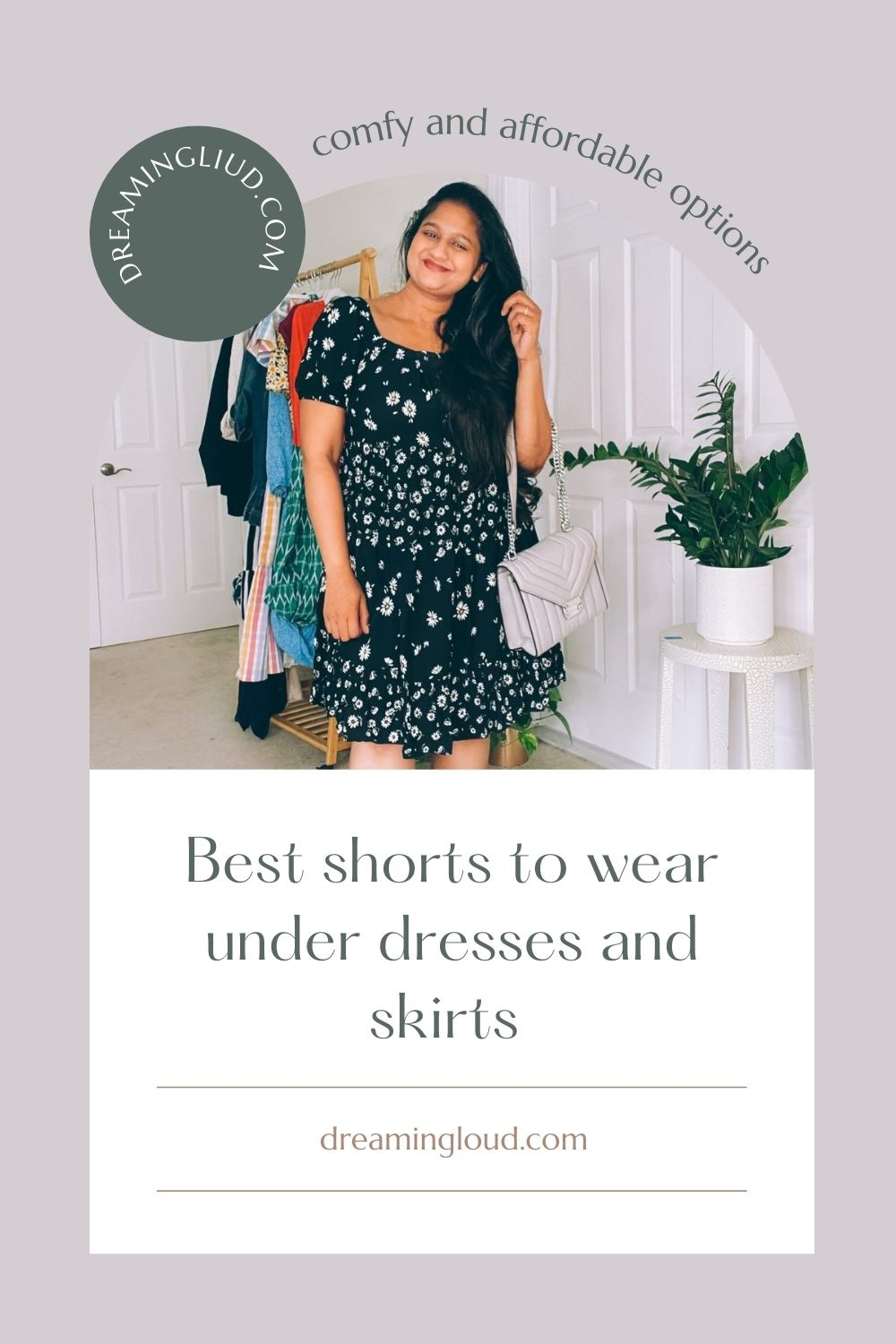Shorts to Wear Under Dresses by popular Maryland modest fashion blog, Dreaming Loud: Pinterest image of a woman wearing a black midi floral print dress.