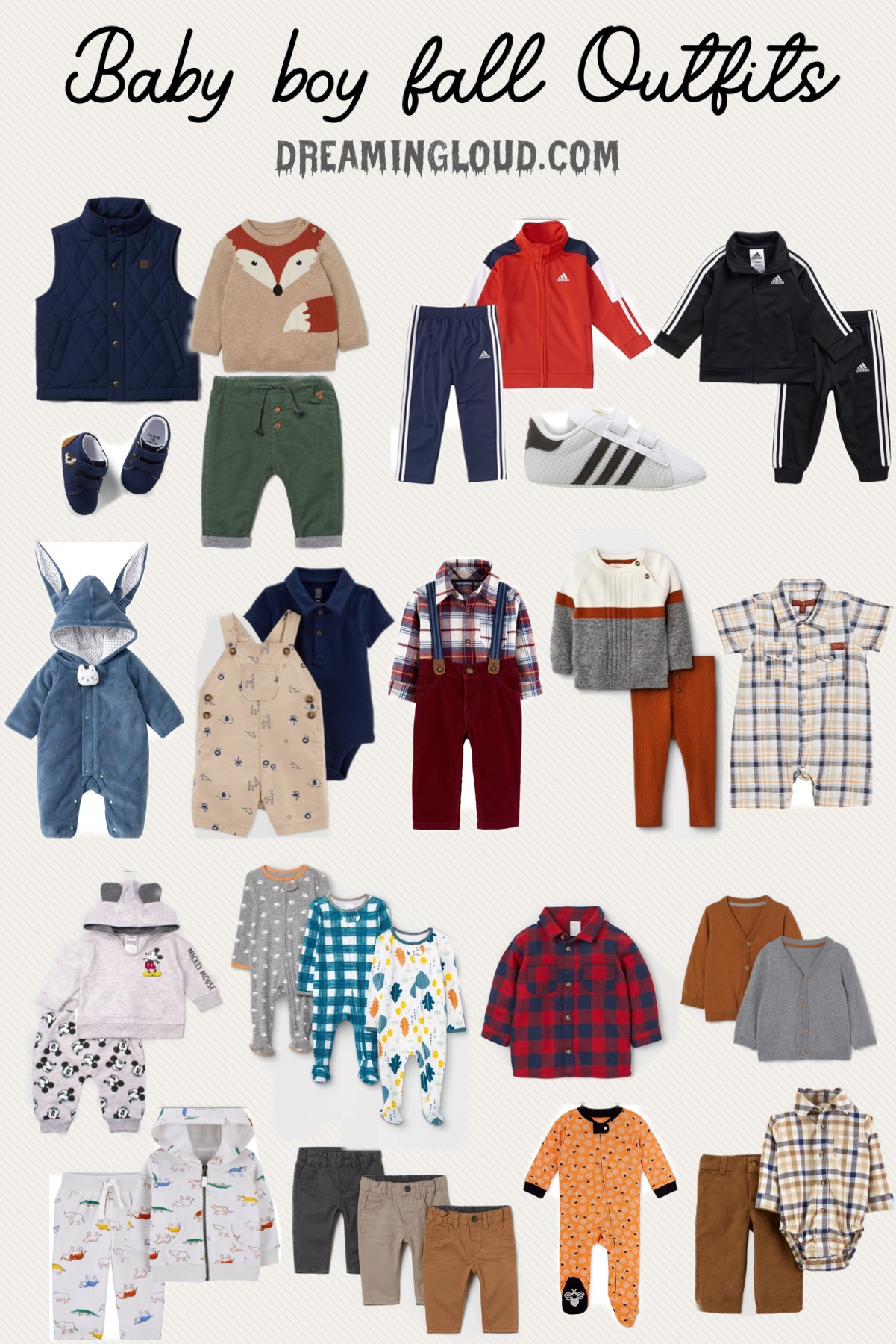 Baby Boy Fall Outfits | Baby Boy Clothes by popular Maryland motherhood blog, Dreaming Loud: collage image of baby boy playsuits, sweaters, pants, plaid shirts, jumpsuits, onesies, shoes, and pants.