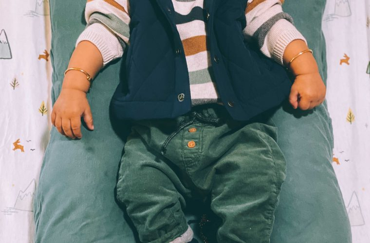 Baby V 6 months Birthday Update- Wearing Janie and jack Puffer vest, Janie and jackie Baby Puppy Sneaker, H& M baby corduroy pants1