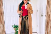 Fall modest outfits-Wearing Banana Republic Factory AirStretch Tie-Waist Cargo Jogger,Classic Camisole in pink, Duster Cardigan in camel, fedora hat, marc fisher Ulani Pointy Toe Bootie 14
