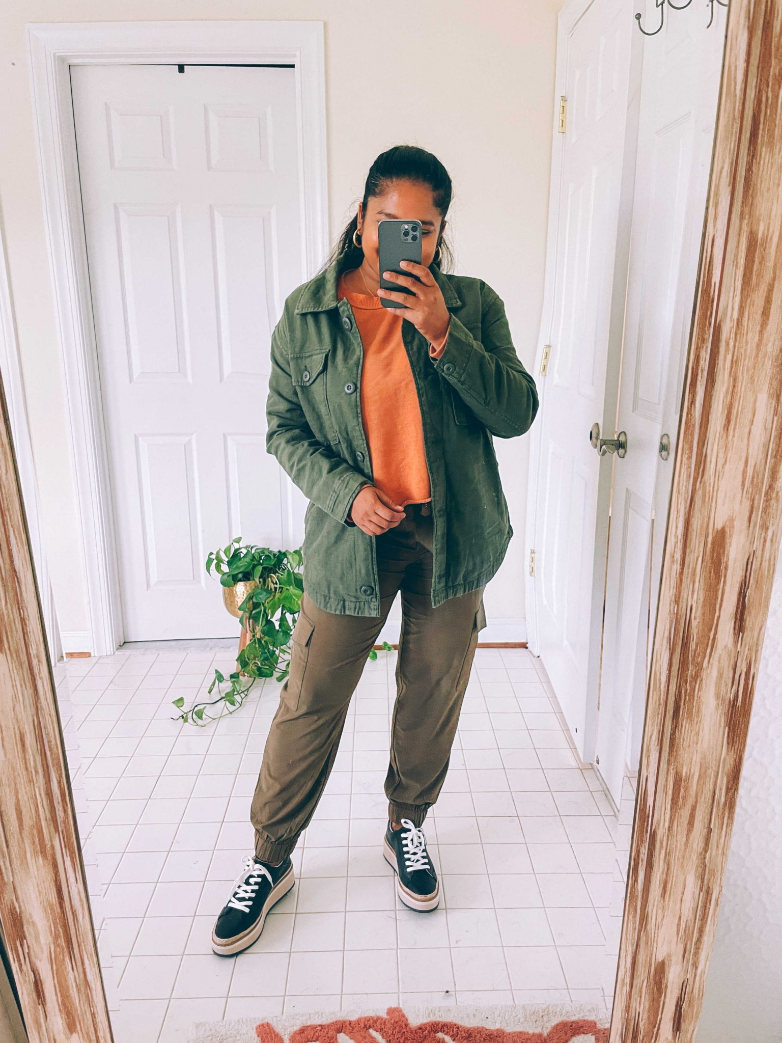 How to wear cargo joggers, tips featured by top US modest fashion blogger, Dreaming Loud: image of a woman wearing Banana Republic cargo joggers, Arie Aerie Fleece-Of-Mind Varsity Cropped Crew Neck Sweatshirt, AEO AE Military Shacket11