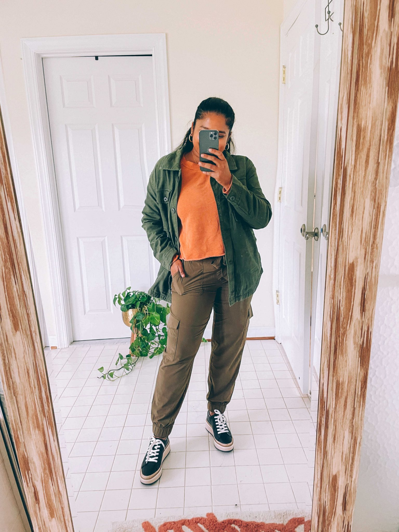 How to wear cargo joggers, tips featured by top US modest fashion blogger, Dreaming Loud: image of a woman wearing Banana Republic cargo joggers, Arie Aerie Fleece-Of-Mind Varsity Cropped Crew Neck Sweatshirt, AEO AE Military Shacket12